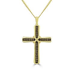 Mens 1/2 CT. T.W. Champagne Diamond 10K Gold Pendant Necklace