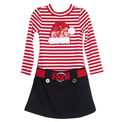 Lilt Long Sleeve Drop Waist Dress - Preschool Girls