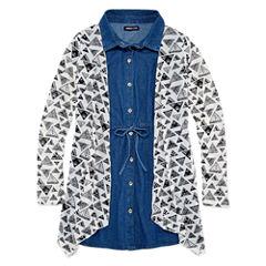 Limited Too Short Sleeve Denim Shirt Dress with Cardigan- Girls' 7-16