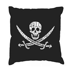 Los Angeles Pop Art Lyrics To A Legendary Pirate Song Throw Pillow Cover