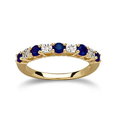 Genuine Blue Sapphire Diamond-Accent 10K Yellow Gold Ring