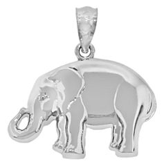 Sterling Silver Polished Elephant Charm Pendant