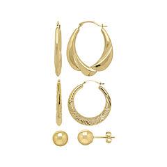 10K Yellow Gold 3-pr. Earring Set