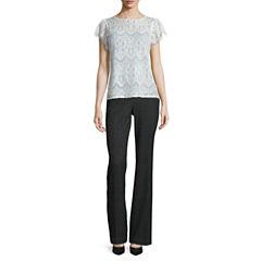 Worthington® Short Flutter-Sleeve Lace Top or Curvy Fit Pants