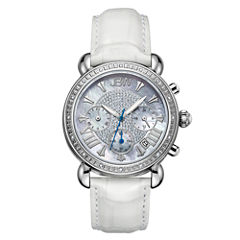JBW Victory Womens 1/6 CT. T.W. Diamond White Leather Strap Watch JB-6210L-Q