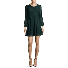 My Michelle Long Sleeve Skater Dress-Juniors