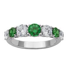 DiamonArt® Sterling Silver Green & White Cubic Zirconia Band Ring