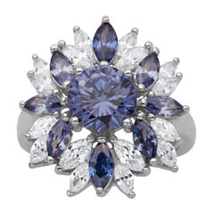 DiamonArt® Sterling Silver Tanzanite & White Cubic Zirconia Flower Cluster Ring