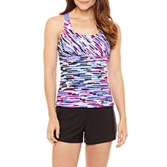 Zeroxposur Geo Linear Tankini Swimsuit Top or Knit Action Short