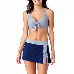 Liz Claiborne Nautical Stripe Bra Swimsuit Top or Swim Skirt