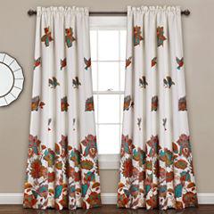 Lush Decor Bird And Flower 2-Pack Room Darkening Curtain Panel
