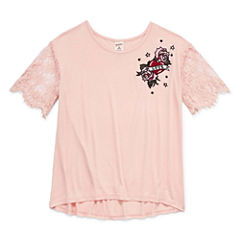 Arizona Lace SS Embroidered Top - Girls' 7-16 & Plus