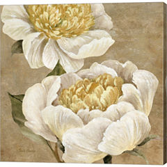 Up Close Cream Peony Gallery Wrapped Canvas Wall Art On Deep Stretch Bars