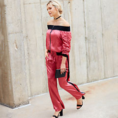 Project Runway Off Shoulder Bomber Jacket