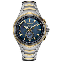 Seiko Coutura Solar Blue Dial Mens Two Tone Bracelet Watch-Ssg020