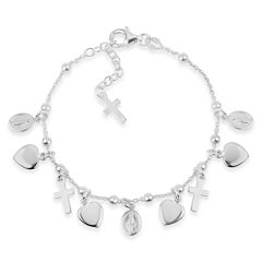 Made In Italy Womens Sterling Silver Charm Bracelet