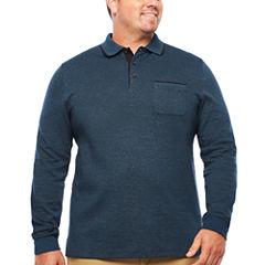 Van Heusen Long Sleeve Melange Polo Shirt Big and Tall