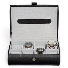 Mele & Co. Mens Black Faux Leather Watch Box