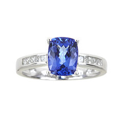 LIMITED QUANTITIES  Cushion-Cut Genuine Tanzanite and 1/5 CT. T.W. Diamond Ring