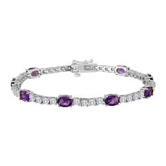Womens Lab Created Purple Amethyst & Cubic Zirconia Silver Over Brass Tennis Bracelet