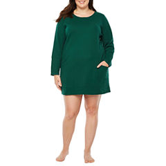 Liz Claiborne Thermal Long Sleeve Nightshirt-Plus