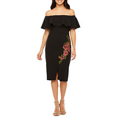 Bisou Bisou Off the Shoulder Embroidered Shift Dress