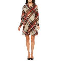 R & K Originals Long Sleeve Plaid Shift Dress