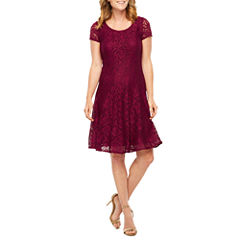 Perceptions Short Sleeve Lace Fit & Flare Dress