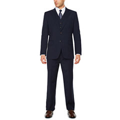 Stafford® Travel Wool Blend Stretch Navy Pin Stripe-Classic Fit