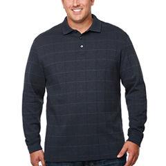 Van Heusen Long Sleeve Grid Melange Polo Shirt Big and Tall