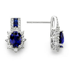 Lab-Created Blue & White Sapphire Sterling Silver Earrings