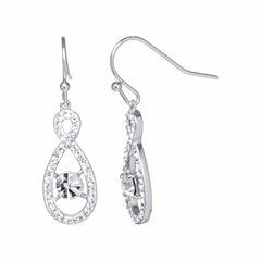 Sparkle Allure Silver Over Brass Drop Earrings