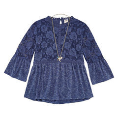 Arizona 3/4 Bell Sleeve Lace Trim Top w/ Necklace - Girls' 7-16 & Plus