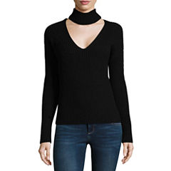 Almost Famous Long Sleeve Cowl Neck Pullover Sweater-Juniors