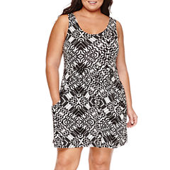 a.n.a Pattern Jersey Swimsuit Cover-Up Dress-Plus