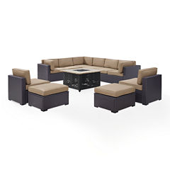Biscayne 8-pc. Wicker Conversation Set - Loveseats, Armless Chairs, Ottomans, Tucson Firetable