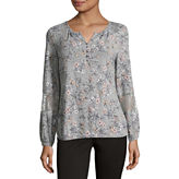 Liz Claiborne Long Sleeve Scoop Neck Floral T-Shirt-Womens
