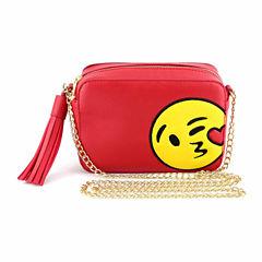 Olivia Miller Kissing Heart Emoji Camera Crossbody Bag