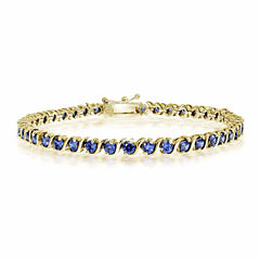 Womens 7.25 Inch Blue Tanzanite Gold Over Silver Link Bracelet