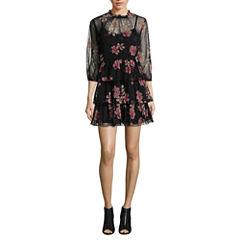 As U Wish 3/4 Sleeve Floral A-Line Dress-Juniors