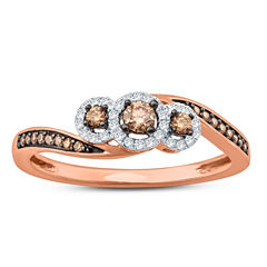 Womens 1/4 CT. T.W. Genuine Champagne Diamond 10K Gold Engagement Ring