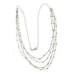 Made in Italy Sterling Silver 4-Row Beaded Chain Necklace