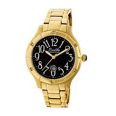 Bertha Womens Jaclyn Mother-Of-Pearl Black Dial Gold Bracelet Swiss Watchbthbr4804