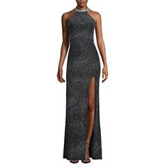 City Triangles® Embellished-Halter Glitter Long Slim Dress - Juniors