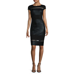 Sangria Cap-Sleeve Mesh-Inset Sheath Dress