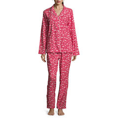 Sleep Chic Flannel Notch Collar Pant Pajama Set