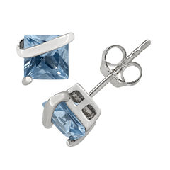 Princess Blue Aquamarine Sterling Silver Stud Earrings