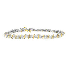 Womens 1 CT. T.W. White Diamond 10K Gold Over Silver Tennis Bracelet