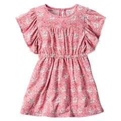 Carter's Short Sleeve Flutter Sleeve Floral A-Line Dress - Toddler Girls