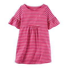 Carter's Short Sleeve Bell Sleeve Stripe A-Line Dress - Toddler Girls